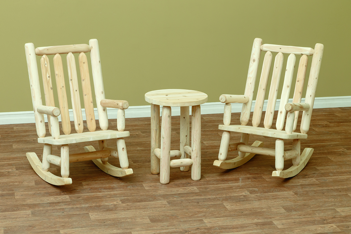 Set Of 2 Adirondack Rocking Chairs And Side Table