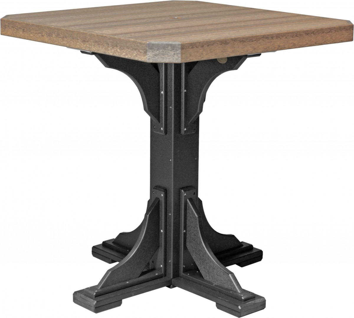 Luxcraft Poly Lumber 41″ Square Top Pedestal Table In Premium Woodgrain Poly Lumber – Dining, Counter, Or Bar Height