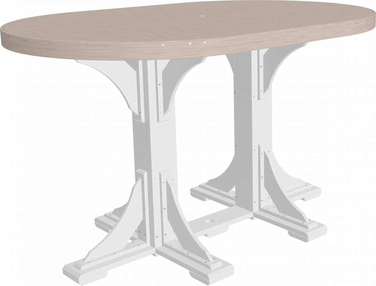 Luxcraft Poly Outdoor 4×6 Foot Double Pedestal Oval Table In Premium Recycled Poly Lumber – Dining, Counter, Or Bar Height