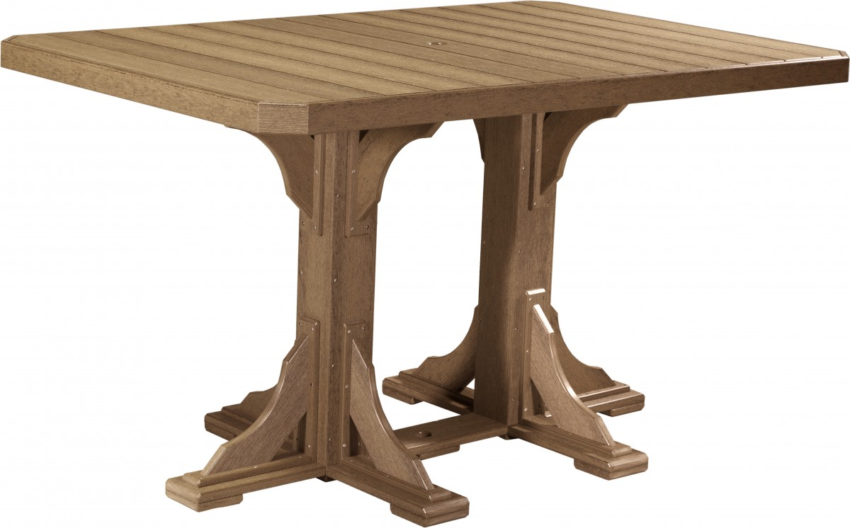 Luxcraft Poly Outdoor 4′ X 6′ Rectangle Double Pedestal Dining Table In Woodgrain Poly Lumber – Dining, Counter, Or Bar Height