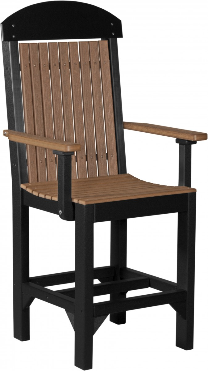 Luxcraft Poly Woodgrain Outdoor High Back Captain Chair Set Of 4 – Bar, Counter, Or Dining Height