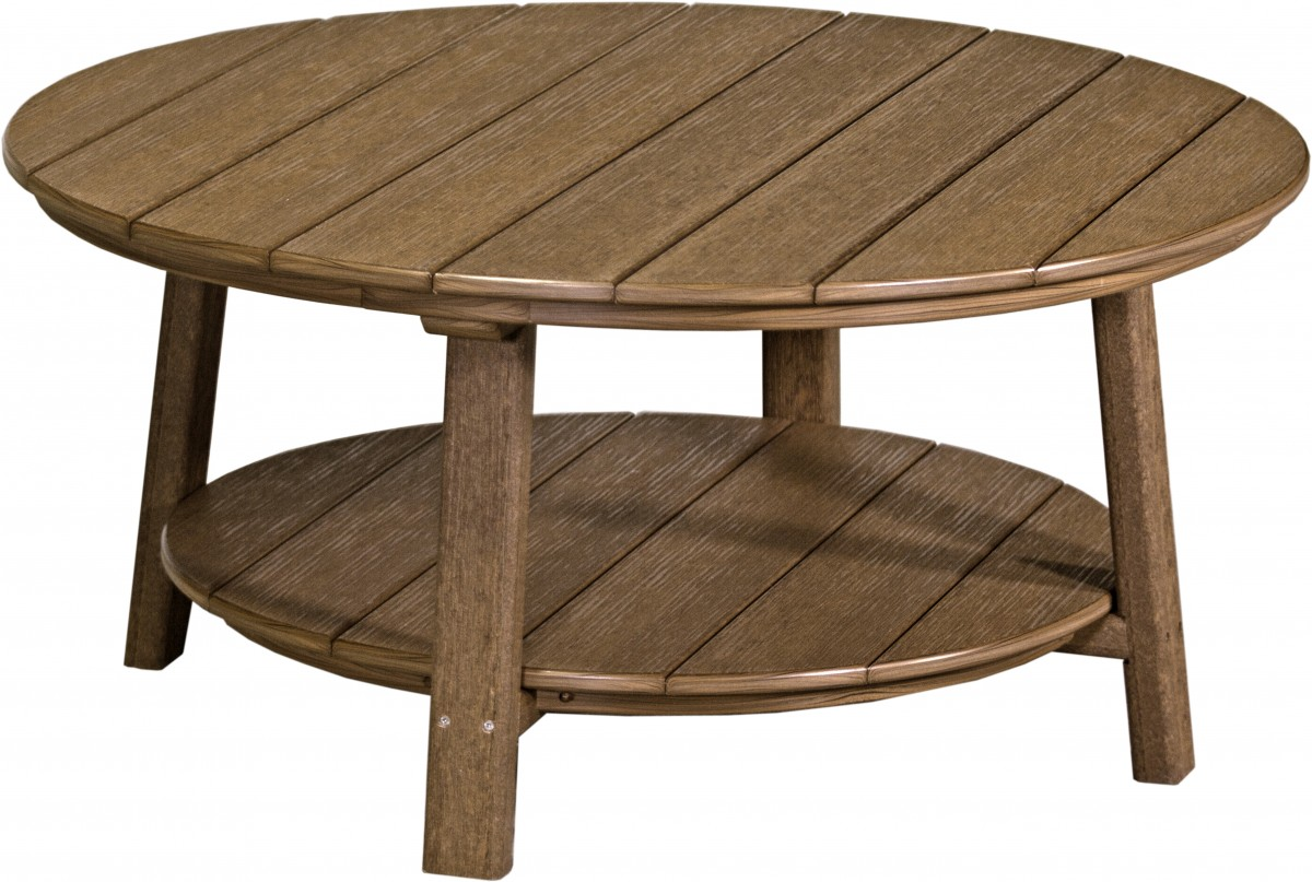 Luxcraft Poly Lumber Round Deluxe Conversation Table In Premium Woodgrain Recycled Poly Lumber