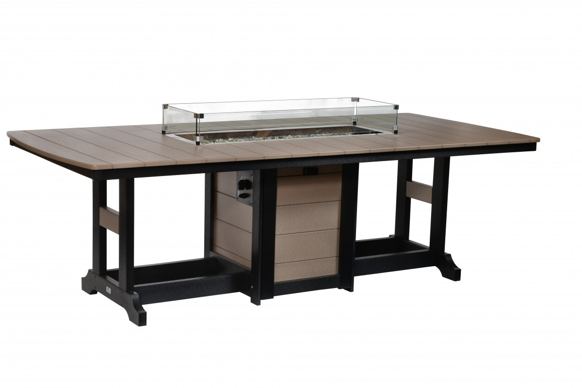 Berlin Gardens Garden Classic Rectangular Fire Table With Hammered Finish Table Top-Multiple Lengths