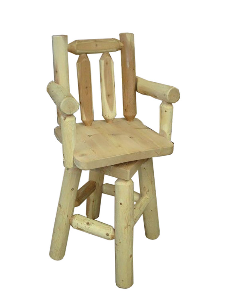 Rustic White Cedar Log Swivel Stool – With Arms – Counter Or Bar Height