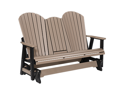 Berlin Gardens Comfo-Back Natural Finish Three Seat Glider With Console